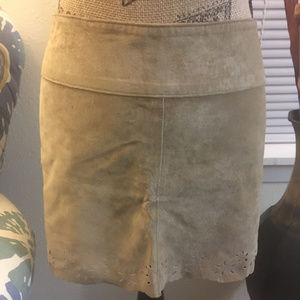 NWOT Arden B tan suede leather skirt 0 XS extra sm